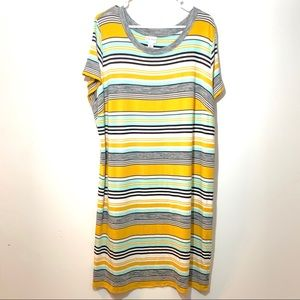 Stretchy Striped Casual Dress Short Sleeve Sz 2X